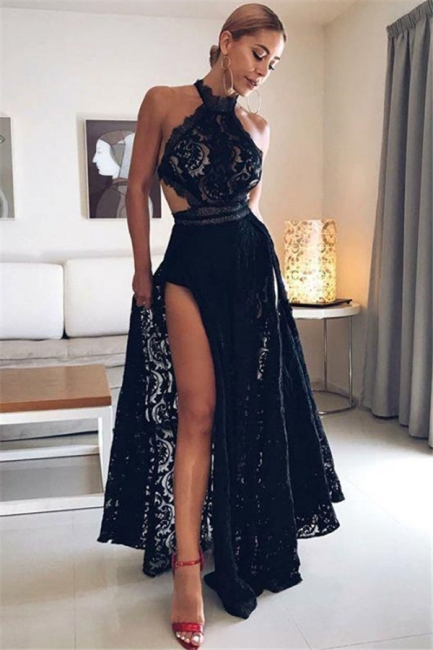 Simple High-Neck Black Lace Sleeveless Prom Dress Side Slit Open Back Formal Dresses with Appliques
