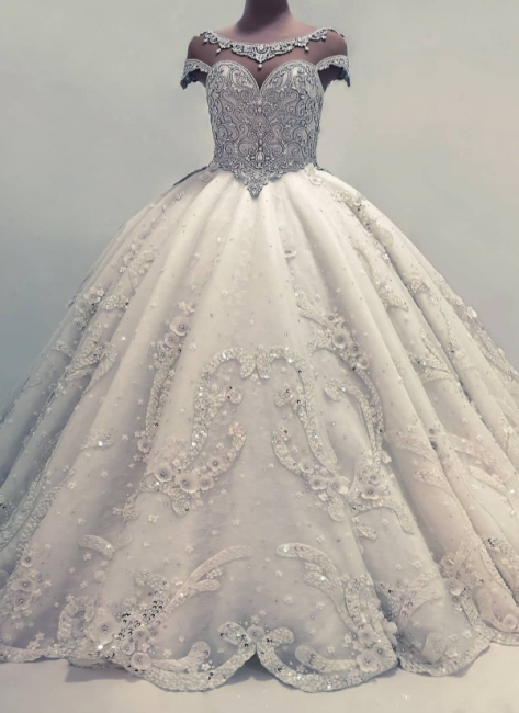 Gorgeous Shiny Crystals Wedding Dresses with Flowers Ball Gown Bridal Gowns Online