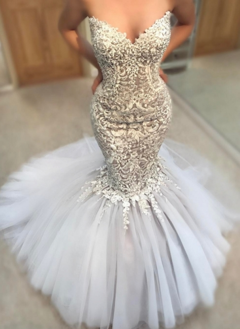 Gorgeous Strapless Tulle Lace Mermaid Wedding Dresses Sweetheart Appliques Sleeveless Bridal Gowns On Sale