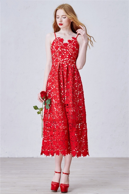 Red Spaghetti Strap Tea Length Lace Prom Dress Latest Sleeveless Zipper Evening Gowns