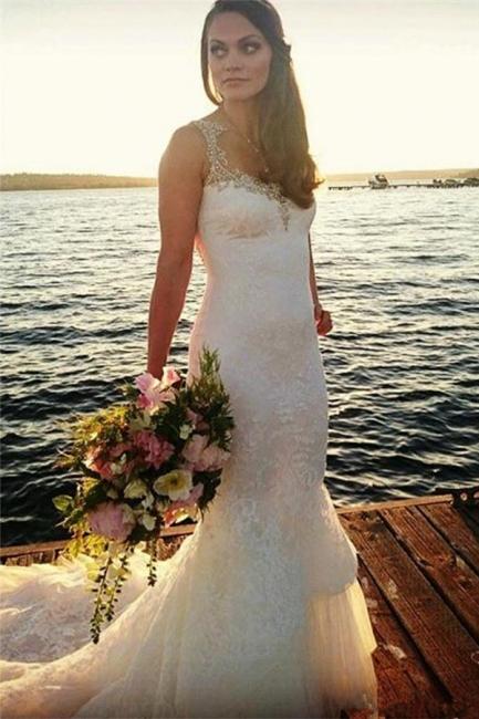 Sexy Sheer Back Mermaid Lace Wedding Dress 20116 Crystals Beading Bride Dress