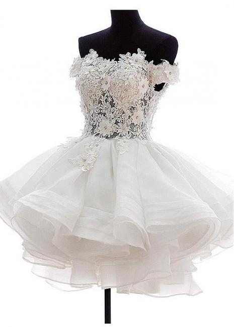 Cute Off Shoulder White Organza Mini Wedding Dress Lace Applique Custom Made Formal Short Bridal Gown BA4970