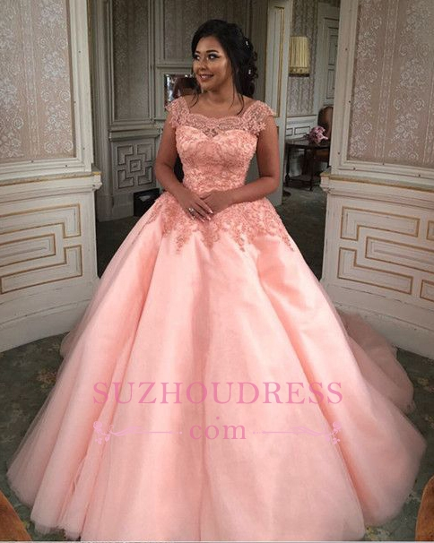 Newest Chic Long Cap-Sleeves Ball-Gown Scoop Lace-Appliques Quinceanera Dresses