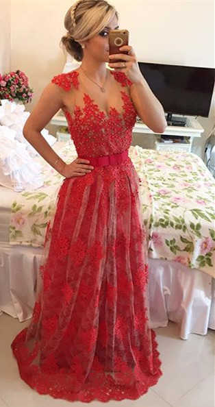 Popular A-Line Beadings Tulle Lace Evening Dress Custom Made Open Back Formal Occasion Dresses