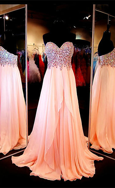 Chiffon Peach Sweetheart Crystal Long Prom Dresses Formal Rhinestone Designer Floor Length Evening Dress for Women