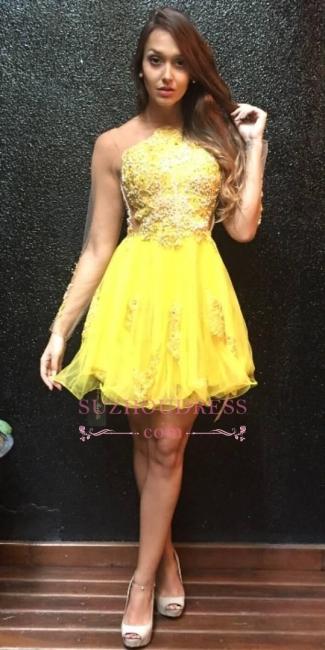 Appliques Mini Sweet Ruffles Yellow Sleeves Long Homecoming Dress