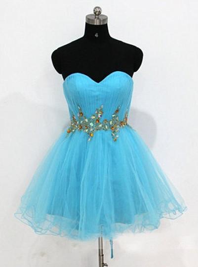 Blue Homecoming Dresses One Shoulder Long Sleeve Crysatl Ruched A Line Organza Cocktail Dresses