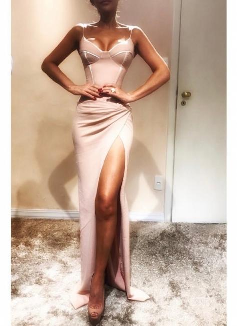 Spaghetti-Strap  Mermaid Elegant Prom Dress Onlinees | Sleeveless Side Slit Evening Gowns | Suzhoudress UK