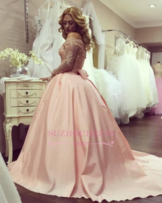Ball Gown Long Sleeves Evening Gown Bowknot Gold-Lace Off-the-Shoulder  Prom Dresses BA4764
