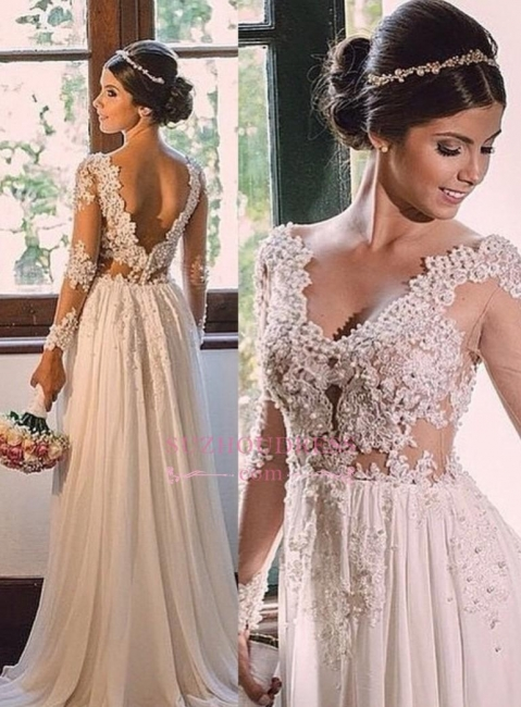 Elegant Open Back A-line Lace Bridal Gowns  V-neck Chiffon Wedding Dress