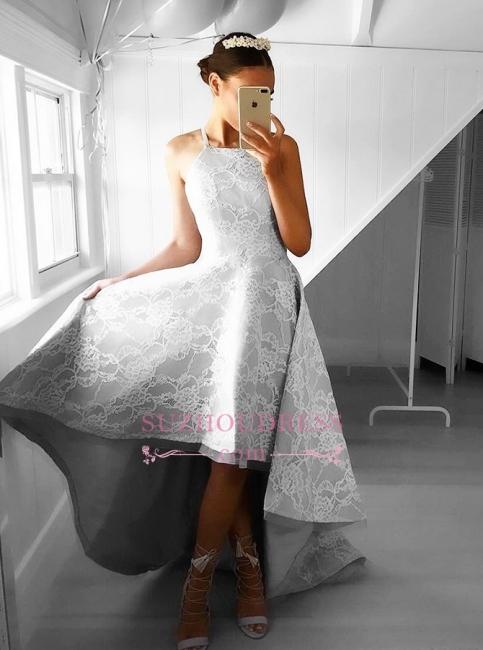Elegant Sleeveless A-line Hi-Lo Halter Lace Prom Dresses