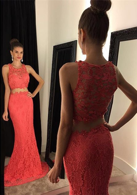 Elegant Two Piece Lace  Prom Dress Latest Simple Formal Occasion Dresses BA3869