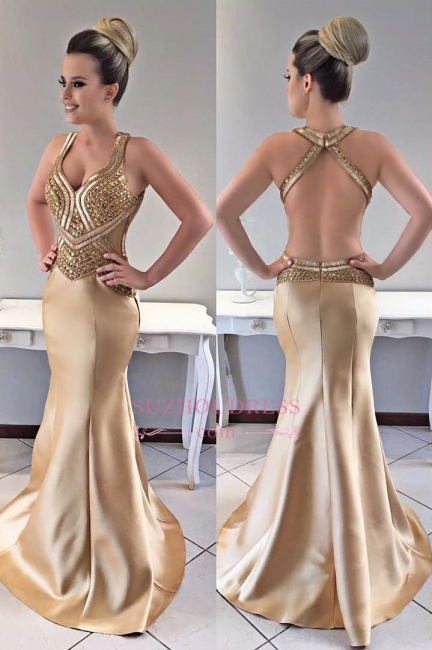 Sexy Mermaid Gold Prom Dress |  Modern Crystals Open Back Evening Dresses