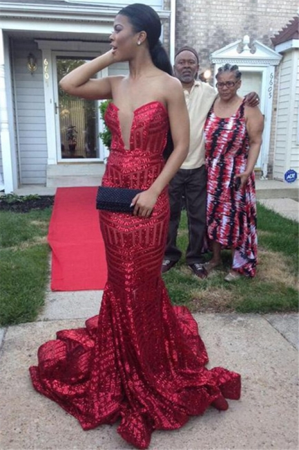 Strapless Mermaid Sequins Sexy Prom Dresses   Sleevelss  Evening Gown