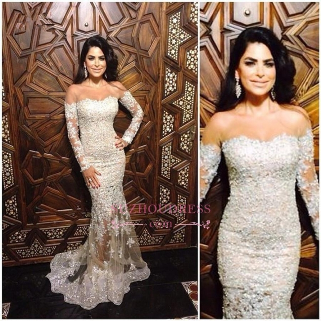 Off The Shoulder Formal Dress  Charming Illusion Appliques Long Sleeve Lace Mermaid Sexy Evening Dress