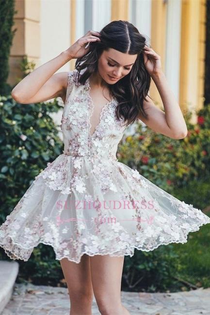 A-line Elegant 3D-Flowers Short Sleeveless Homecoming Dress qq0372