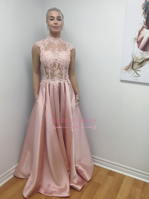 Pink Illusion Bodice High-Neck A-Line Long Lace-Applique Chic Prom Dresses