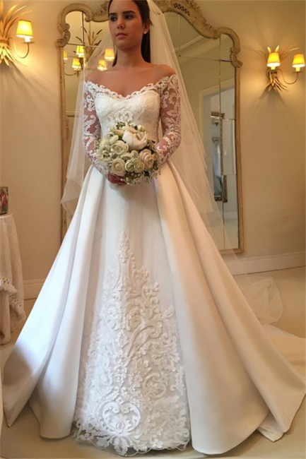 Off-the-Shoulder Long-Sleeves Wedding Dresses | Lace A-Line Bridal Gowns WW0109