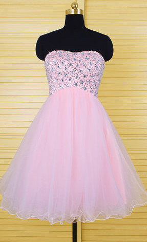 Cute Pink Crystal Mini Homecoming Dress New Arrival Sweetheart Organza Lace-Up Short Cocktail Dress