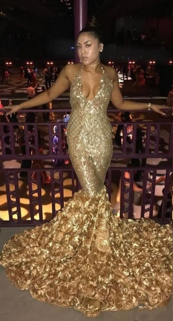 Sexy Gold Mermaid Prom Dresses | V-Neck Sleeveless Evening Dresses with Flowers SK0172