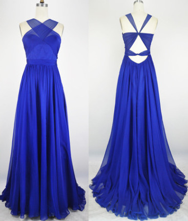 Sexy Popular Royal Blue Evening Dress Chiffon Backless Long  Prom party Dress with Open Back