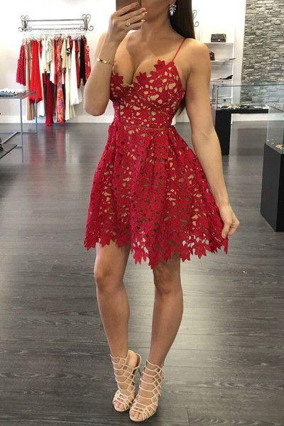 Sexy Red Lace Short  Homecoming Dresses New Arrival Saghetti Strap Summer Gowns BA3261