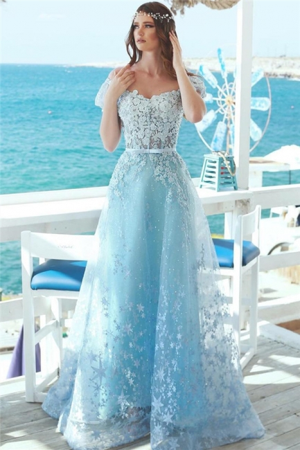 Affordable A-Line Off-the-Shoulder Lace Prom Dress Baby Blue Appliques Evening Dresses Online