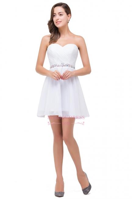Short Chiffon Crystal Elegant Sweetheart White Homecoming Dress