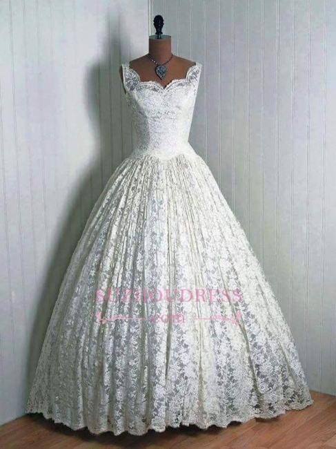 Lace 1950s Floor Length Sleeveless Vantage Wedding Dresses