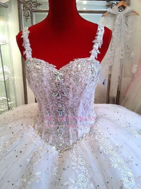 Beading Sparkly Puffy Ball Gown Bride Dress  Ceystals Lace Straps Luxurious Wedding Dress
