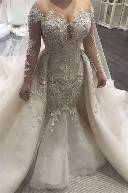 Alluring Lace Wedding Dresses Mermaid Bridal Gowns with Tulle Overskirt Online
