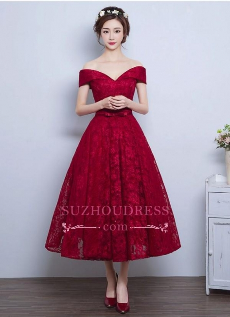 Tea Length Lace Vintage Burgundy Evening Gowns Off-the-Shoulder   Prom Dresses BA4449