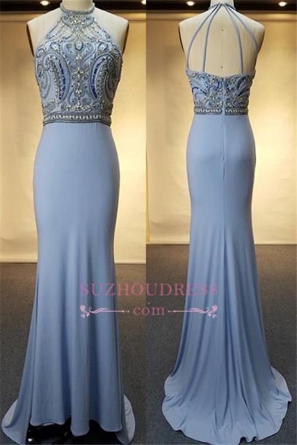 Blue Crystal Sheath Halter Open-Back Sweep-Train Evenig Dresses