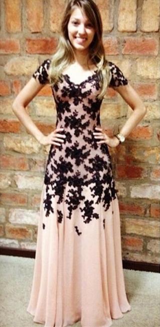 Elegant A-Line Black Lace Applique Prom Dress Short Sleeve Chiffon Long Evening Gown