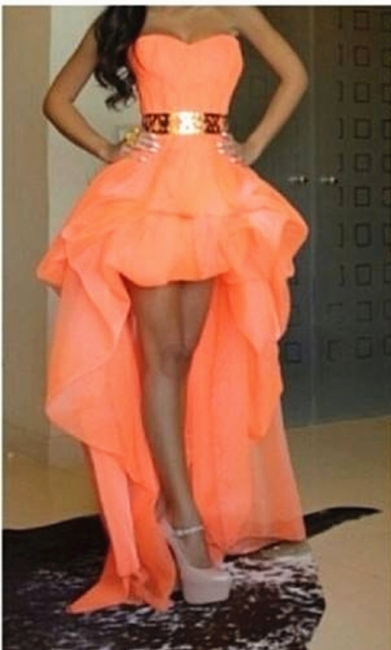 Chiffon Sweetheart Hi-lo Orange Homecoming Dresses with Gold Belt Cute Plus Size Prom Gowns