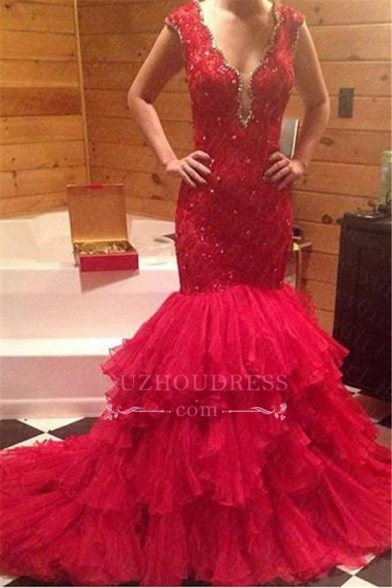 Beadings V-Neck Mermaid Sleeveless Red Tiered Prom Dress