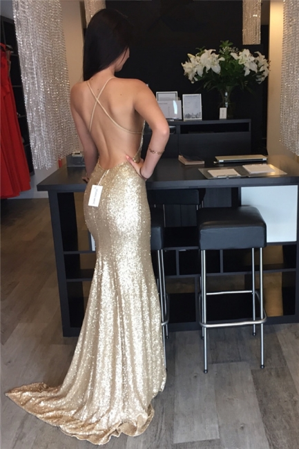 Champagne Sequins Backless Sexy Evening Gowns  V-neck Party Dress CE071