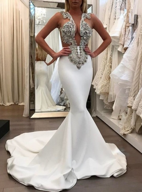 White Sleeveless Mermaid Prom Dresses | Appliques Beadings Evening Dresses