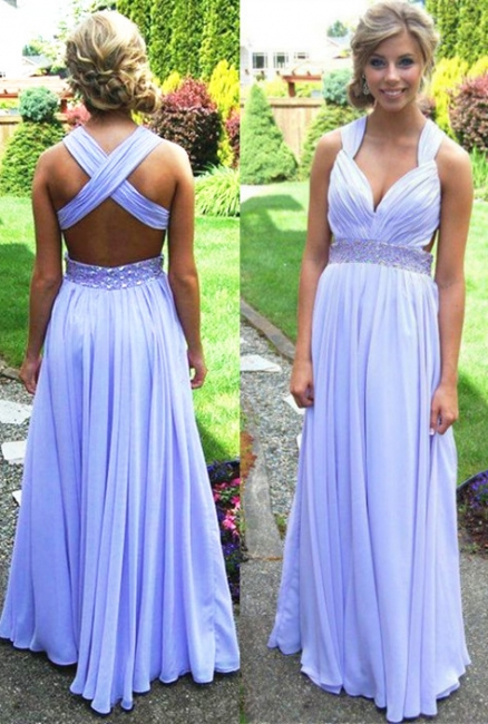 V-Neck A-Line Chiffon Evening Dresses  Criss- Cross Prom Gowns with Beadings CJ0044