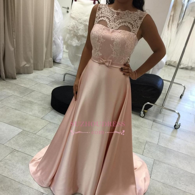 A-Line Sleeveless Lace Long Elegant Evening Dress