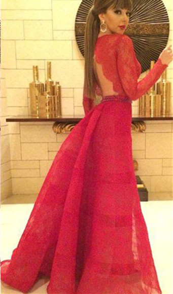 Sexy Red Lace Long Sleeve Prom Dress New Arrival Open Back Crystal Formal Occasion Dresses