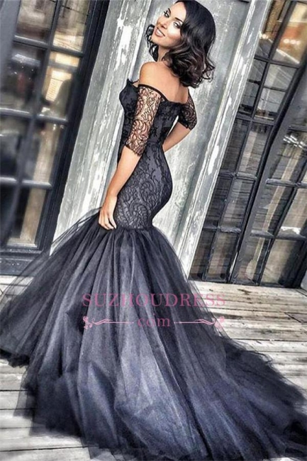 Mermaid Court-Train Black Lace New Tulle Off-the-shoulder Half-Sleeves Evening Dresses BA3948