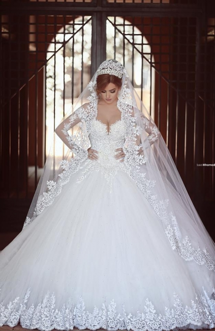Elegant White Lace Ball Gown Wedding Dress Popular Sweep Train Long Sleeve Bridal Gown MH026