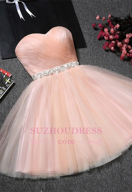 A-Line Ruffles Short Sweetheart Short Simple Crystal Homecoming Dresses