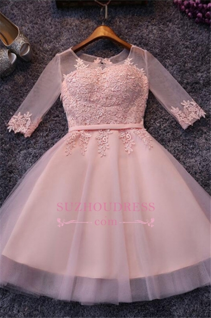 Pink Half-Sleeves Appliques Hoco Dresses  Short Tulle Homecoming Dresses