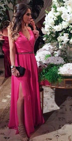 A-Line Fuchsia V-Neck  Prom Dresses Beading Split Side Floor Length Party Gowns