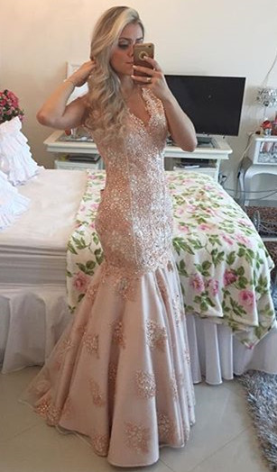 Sexy V-Neck Mermaid Crystal Long Formal Occasion Dress Lace Beadings Trumpet Evening Dress