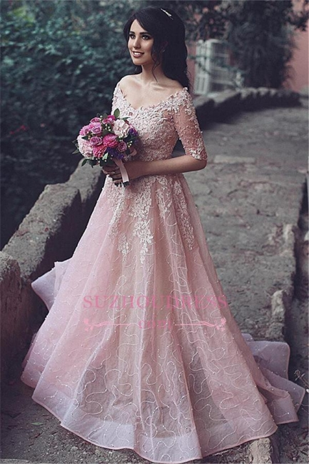 Half-Sleeve Long Tulle Applique A-Line Pink Prom Dresses