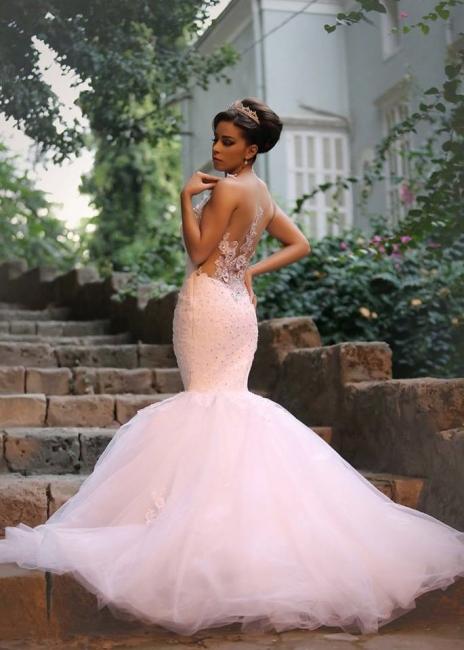 Elegant Lace Beaded Wedding Dresses  Mermaid Sheer Tulle Bride Dress WE0010