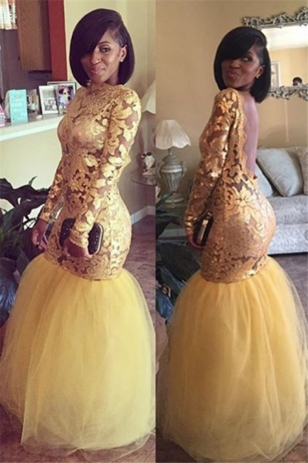 Long Sleeve Gold Lace Prom Dresses  | Mermaid Tulle Open Back Sexy Evening Dress BA8038